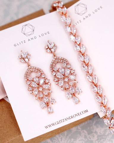 Rose Gold CZ Chandelier Jewelry Set