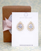 Gold CZ Teardrop Earrings