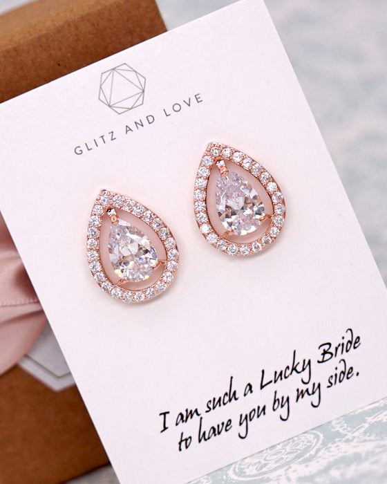 Rose Gold Halo Teardrop Ear Studs | Timeless Classy Wedding Jewelry
