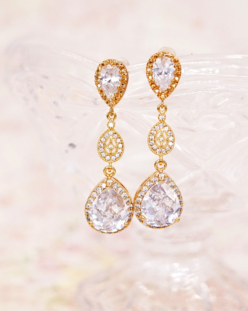 Gold Luxe Teardrop Cubic Zirconia Earrings