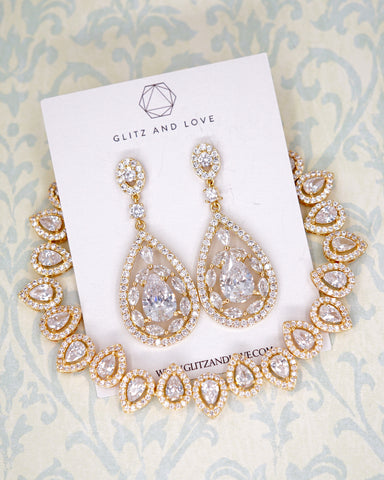 Yellow Gold CZ Chandelier Jewelry Set