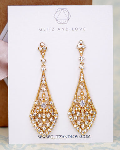 Gold Vintage Style Drop Earrings