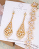 Gold Vintage Style Drop Earrings & Bracelet