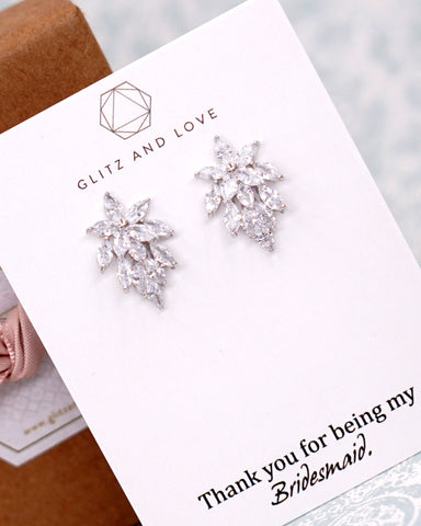 Silver Cubic Zirconia Marquise Ear Studs