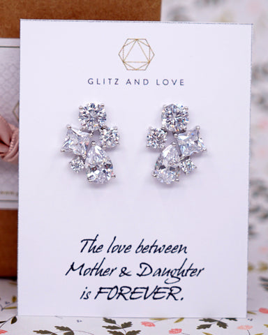 Silver Cubic Zirconia Cluster Ear Studs