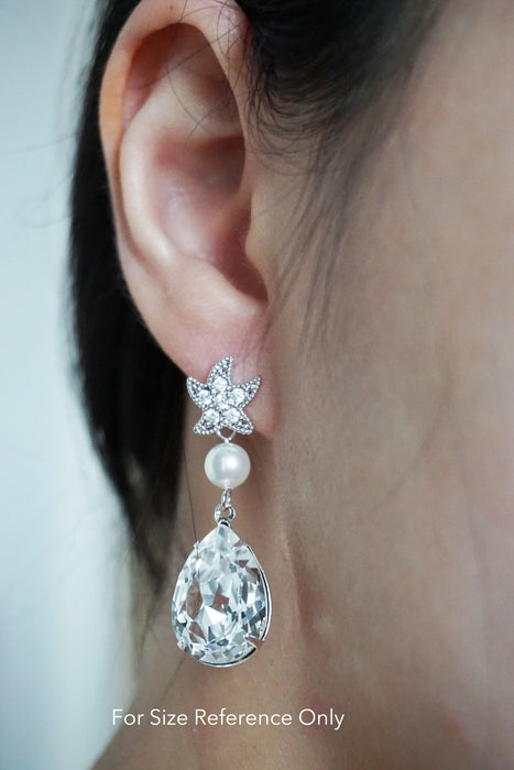 Starfish Crystal & Pearl Earrings | Nautical Beach Wedding Destination