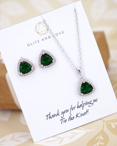 Triangle Emerald CZ Jewelry Set