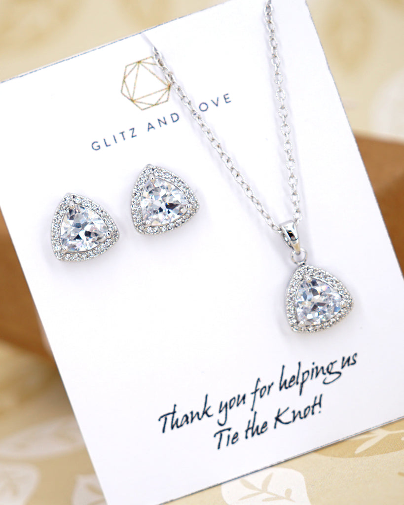 Triangle CZ Jewelry Set