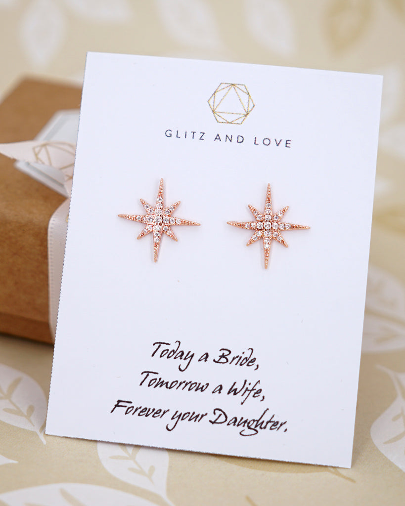 Rose Gold Snowflakes Ear Studs