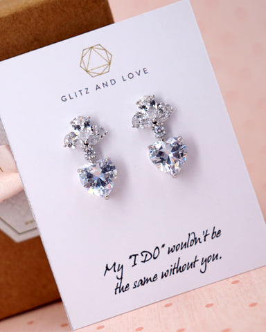 Silver Cubic Zirconia Love Charm Set