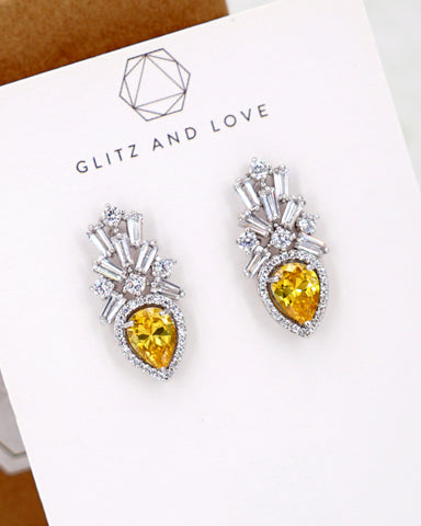Silver Crown Yellow Teardrop Earrings