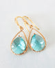 Gold Aquamarine Teardrop Earrings
