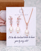 Rose Gold Whimsical Pearl Earrings and Necklace set