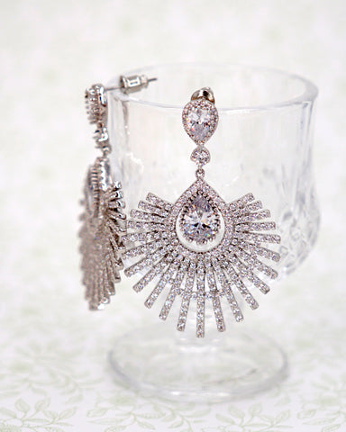 Art Deco Fan Earrings