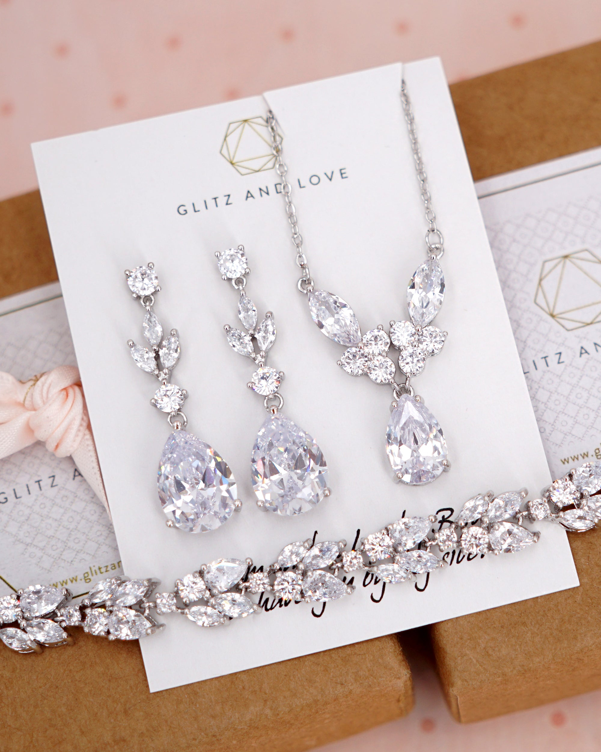 Silver Cubic Zirconia Marquise Jewelry Set - Earrings, Necklace, Bracelet