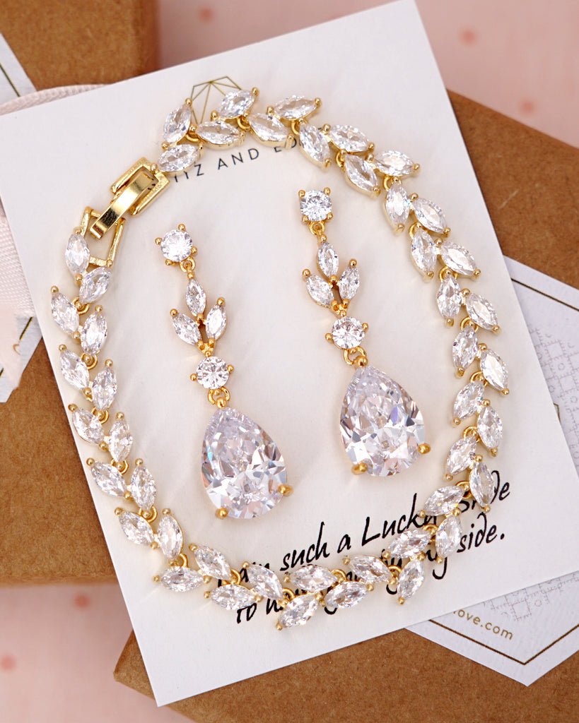 Gold Cubic Zirconia Marquise Set