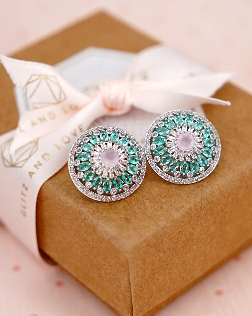Mint & Pink Round Ear Studs