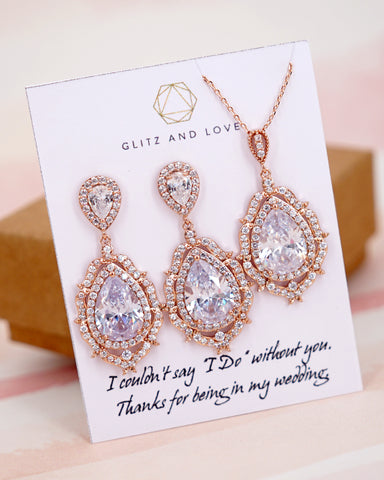 Rose Gold Teardrop Luxe Jewelry Set