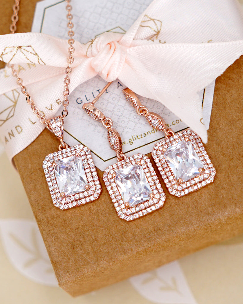 Rose Gold Emerald Cut Jewelry Set