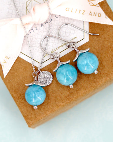Aquamarine Jewelry Set - Simple