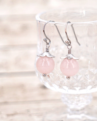 Rose Quartz Earrings - Simple