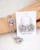 Silver Cubic Zirconia Rose Jewelry Set