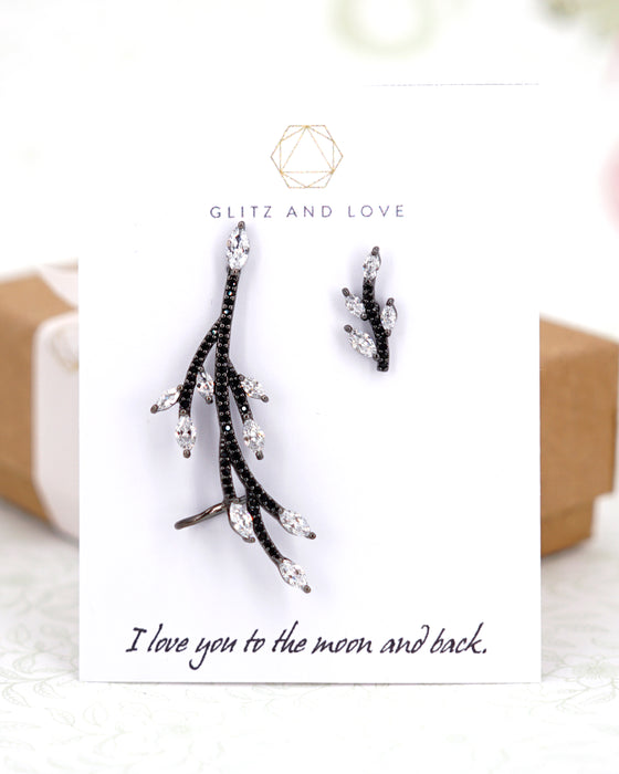 Gunmetal Asymmetrical Twig Earrings