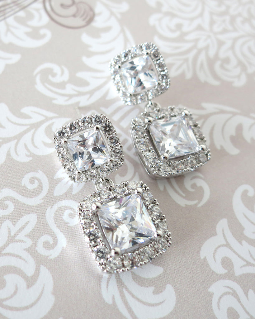 Square Halo Earrings