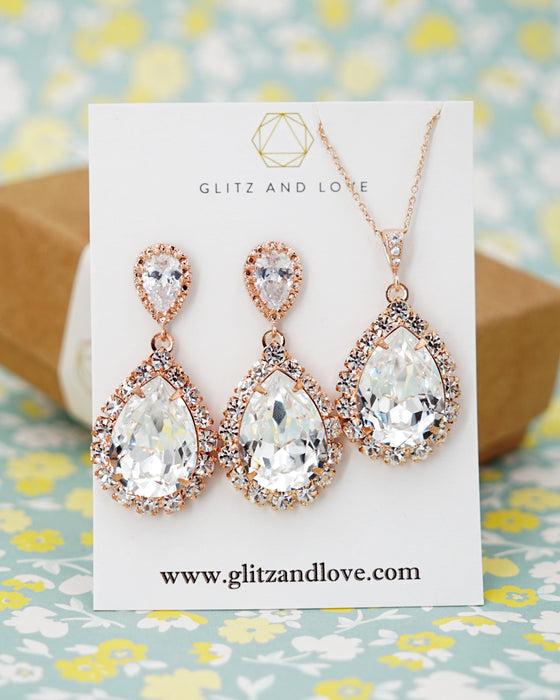 Rose Gold Luxe Crystal Teardrop Earrings | Bridal Jewelry | Wedding Exquisite