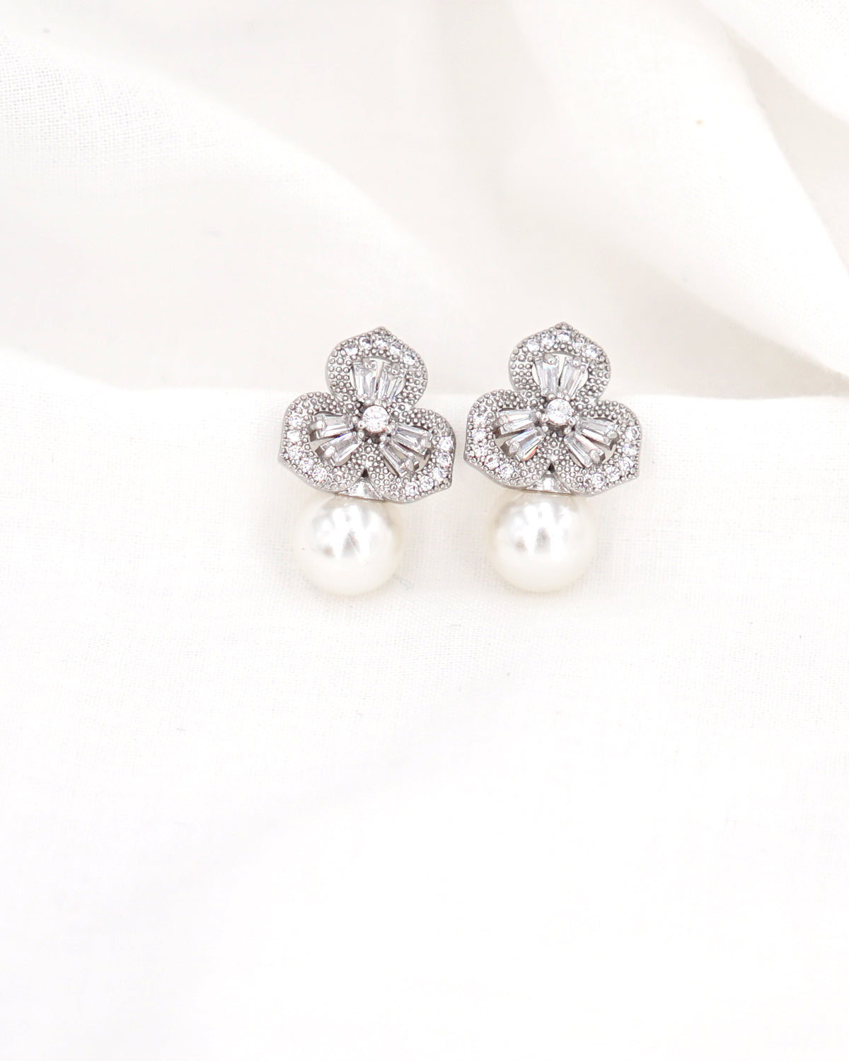 Silver Floral Stud Earrings