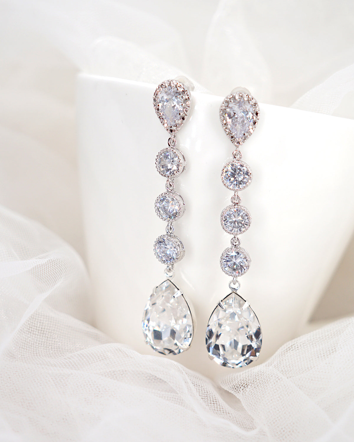 Silver Crystal Earrings and Bracelet | Brides Bridal Weddings Jewelry