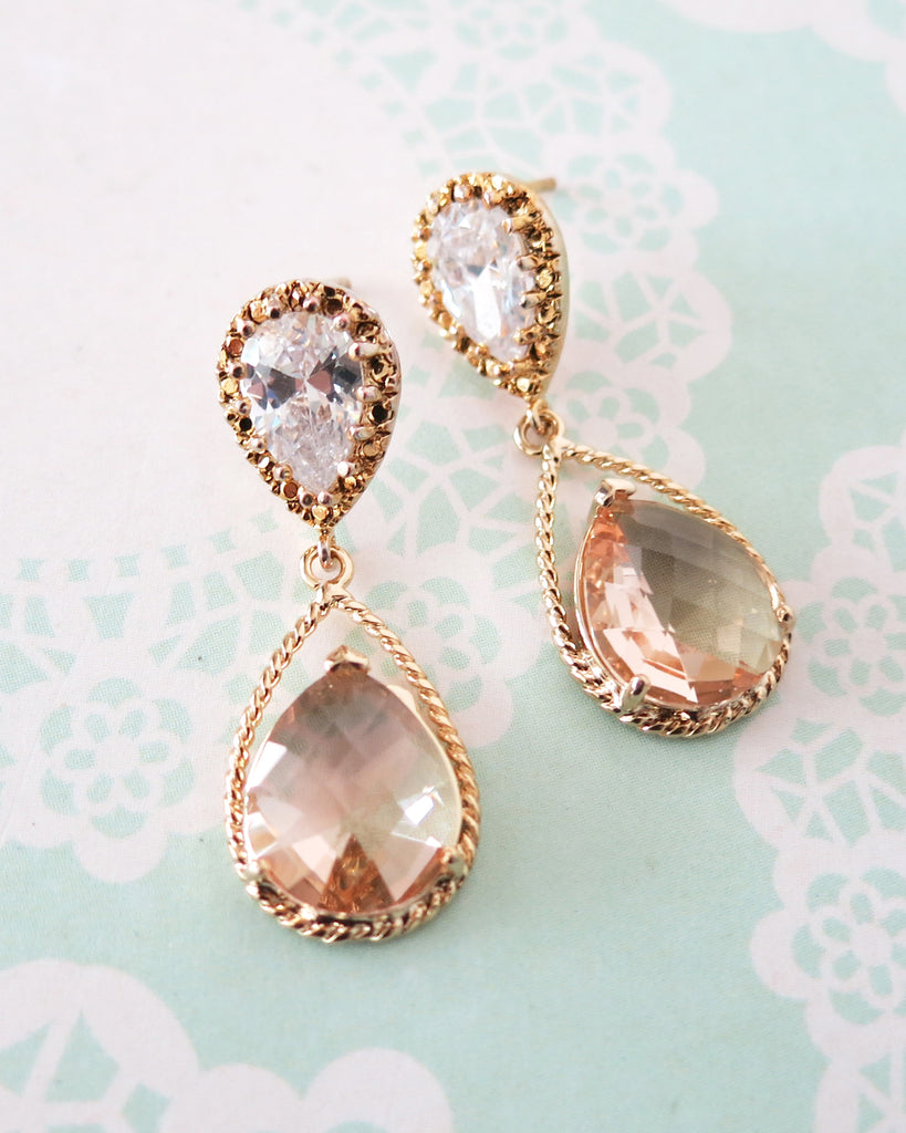 Gold Champagne Teardrop Jewelry Set