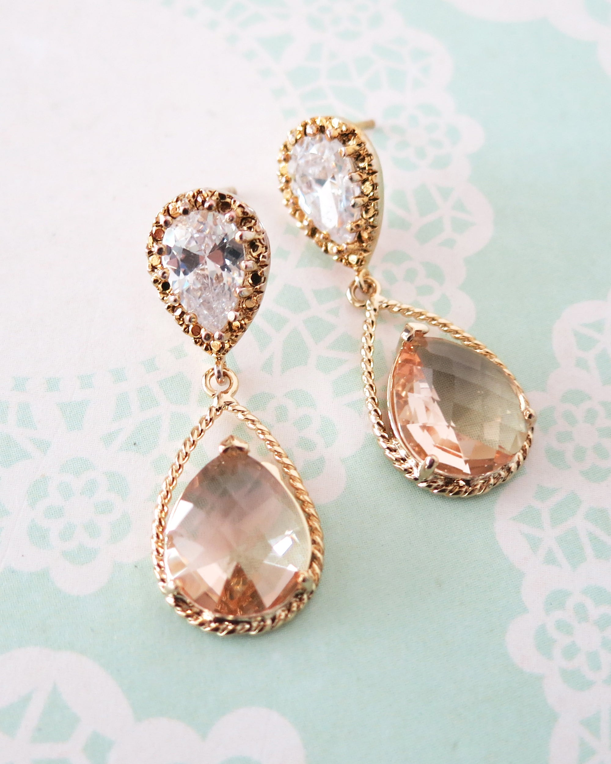 Gold Champagne Teardrop Earrings & Necklace | Bridesmaid Jewerly Gifts