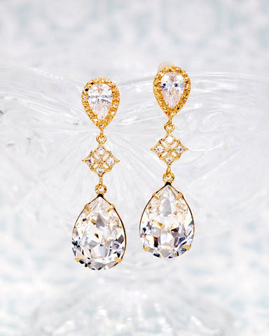 Swarovski Crystal Gold Earrings
