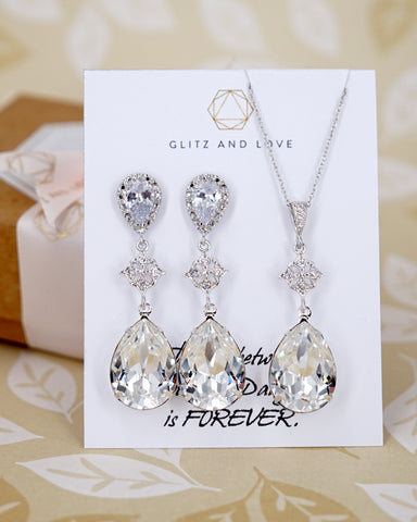 Swarovski Crystal Silver Earrings