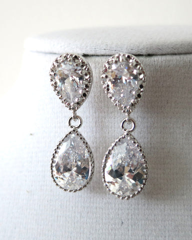 Silver CZ Teardrop Earrings