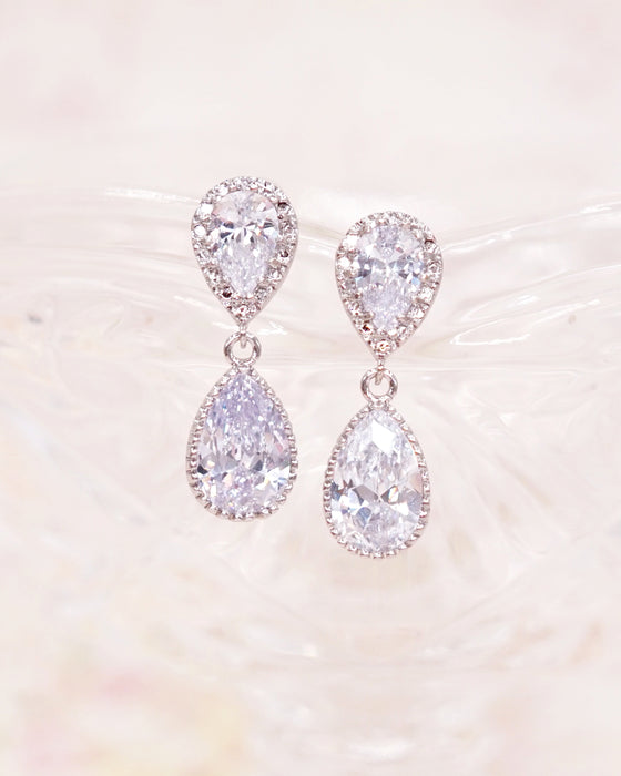 Silver CZ Teardrop Jewelry Set
