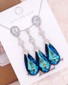Blue Teardrop Crystal Earrings and Necklace| Something Blue Jewlery for Brides
