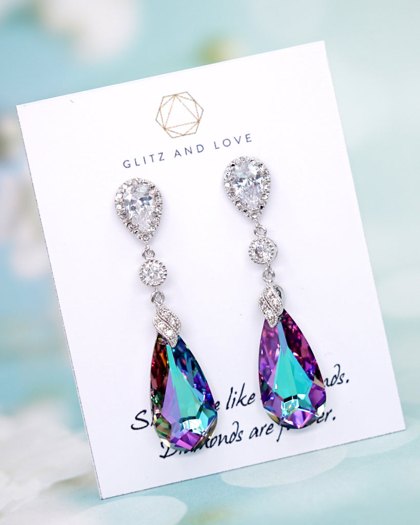 Vitrail Light Purple Crystal Earrings