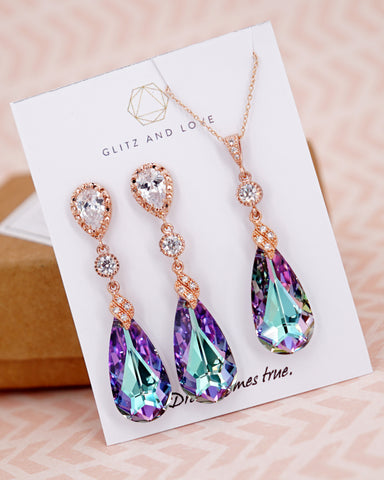 Vitrail Light Purple Crystal Earrings & Necklace