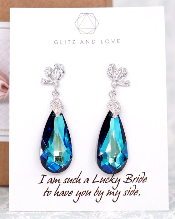 Swarovski Bermuda Blue Teardrop Jewelry Set