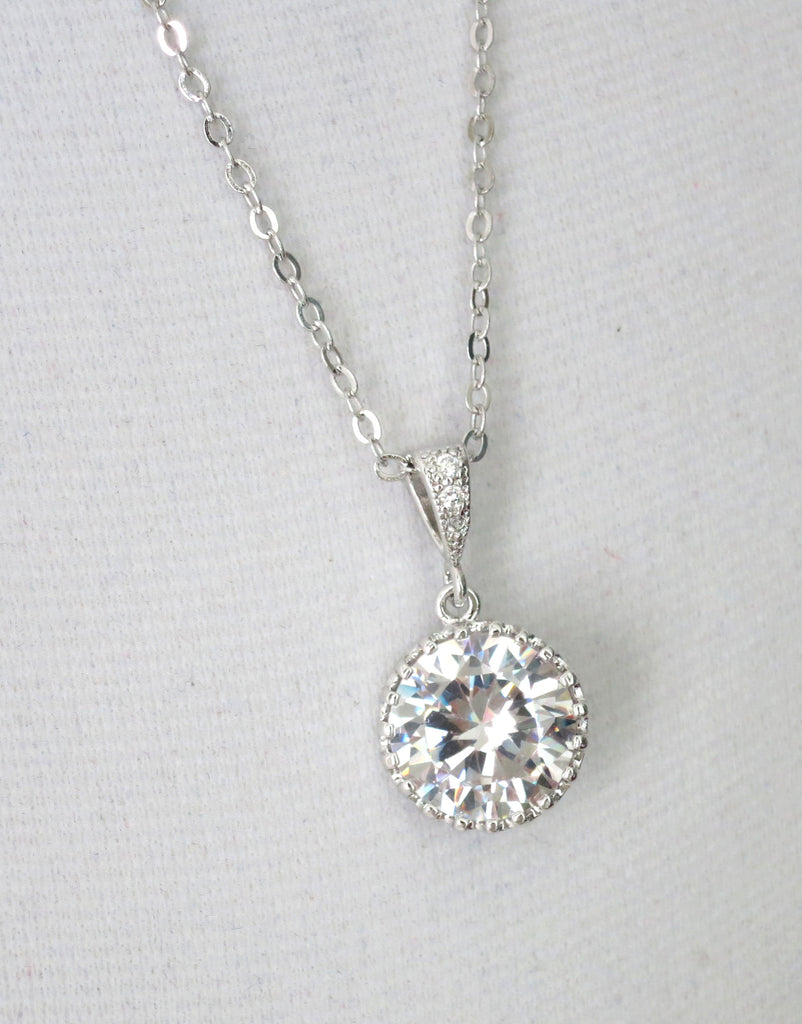 Simple Bridal Necklace | Cubic Zirconia