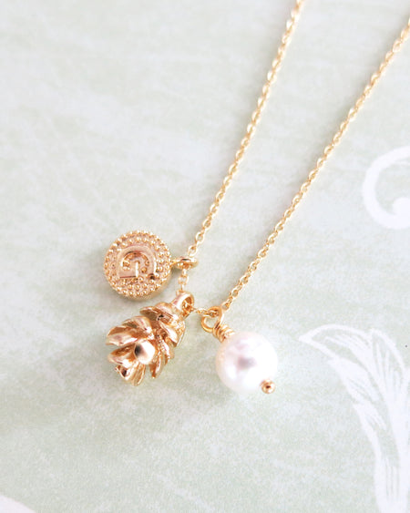 Gold Pine Cone & Initial Necklace | cutest whimsical jewelry gift