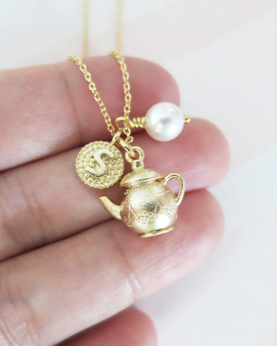 Gold Tea Pot & Initial Necklace | cutest whimsical personalised gift