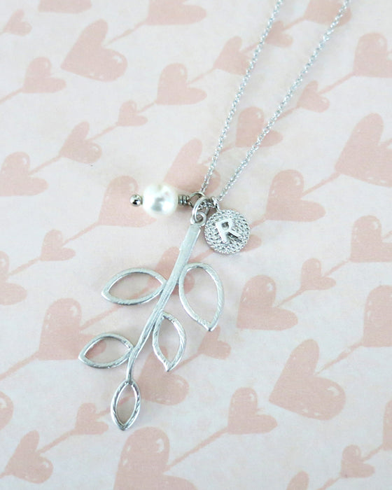 Silver Leaf & Initial Necklace | cutest nature whimsical jewelry gift