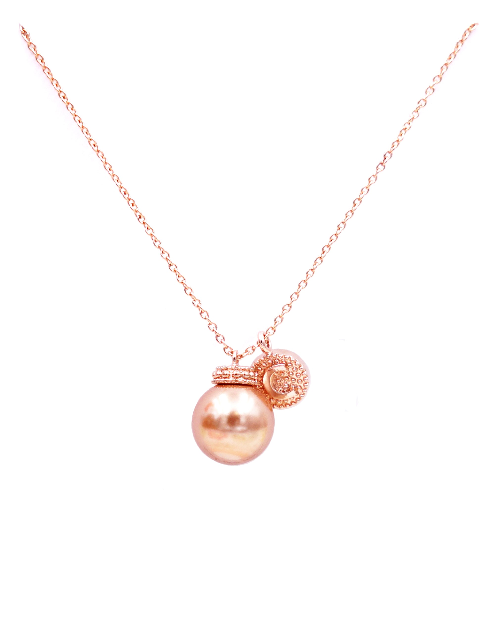 Rose Gold Pearl & Initial Necklace
