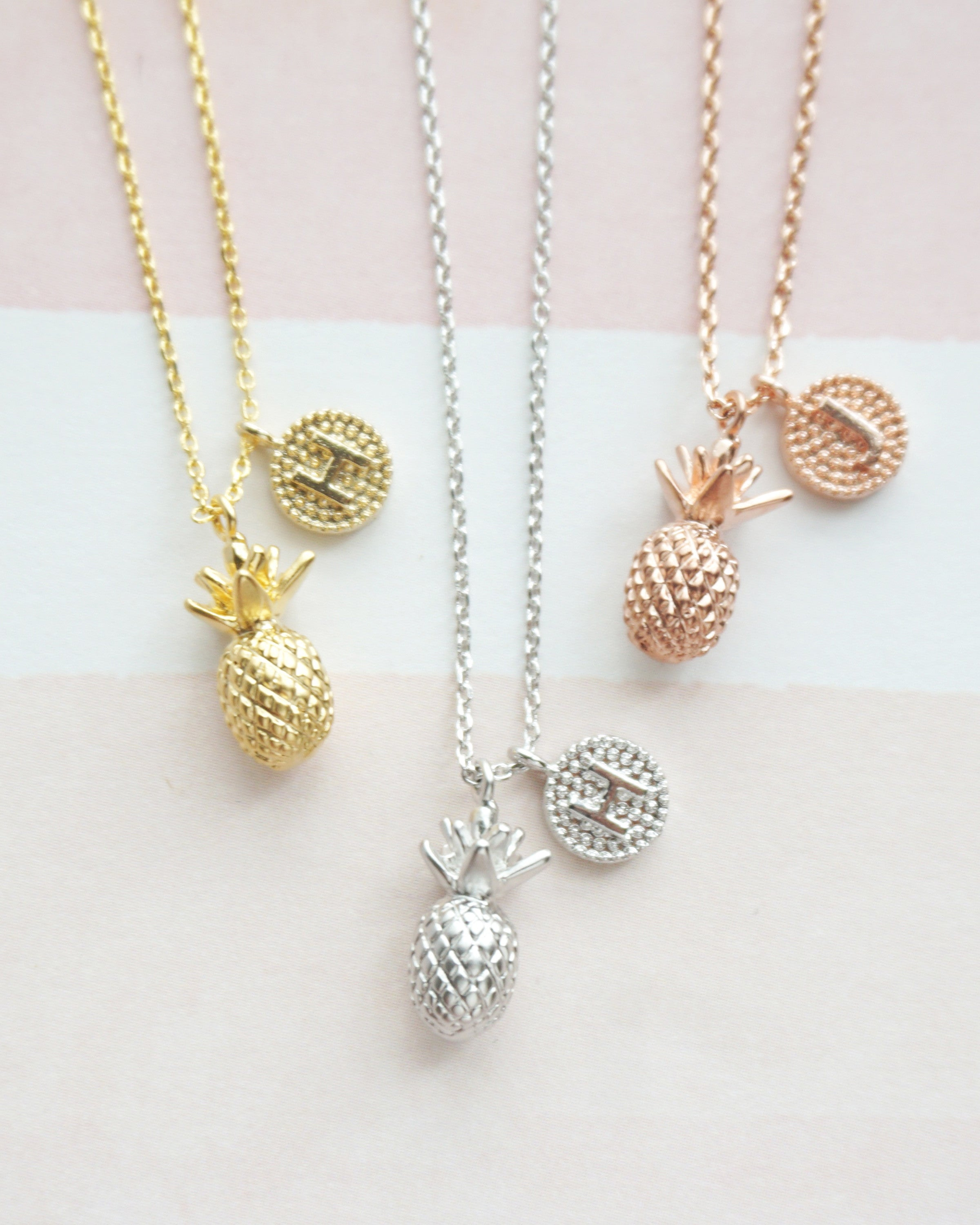 Pineapple Necklace Petite Initial Necklace Initial Necklace Pineapple Charm Gold Letter Necklace Tiny Personalized Initial Necklace