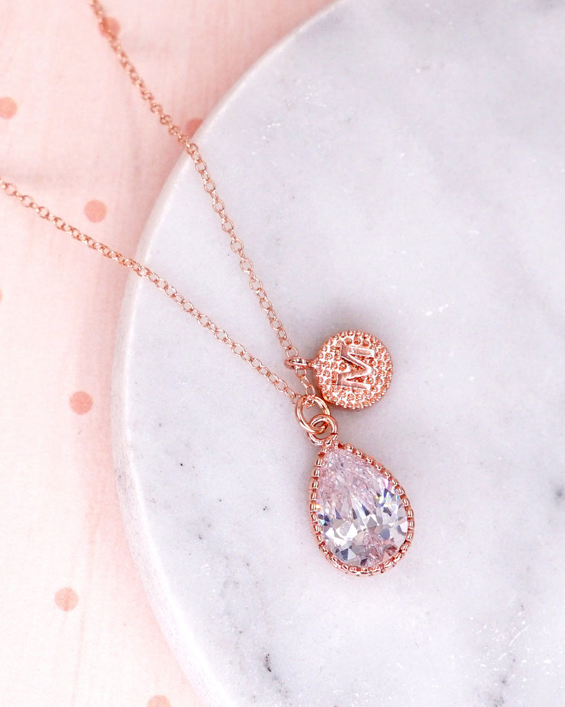 Personalised Rose Gold CZ Teardrop Necklace