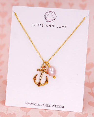 Anchor & Pearl Necklace