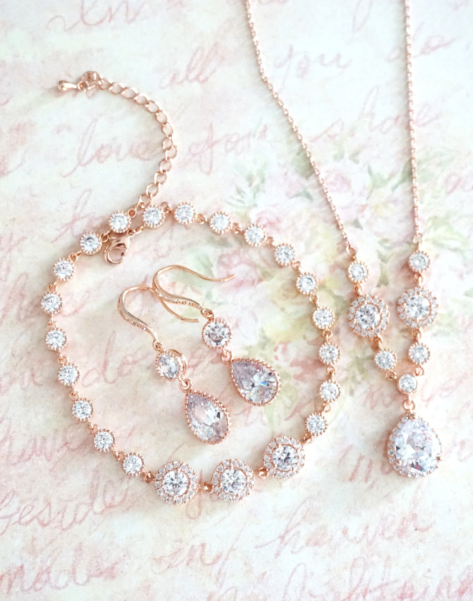 Rose Gold Halo Jewelry | Wedding Bridal Brides Bridesmaids Necklace, Earrings and Bracelet